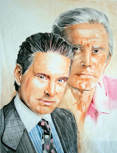 Kirk Douglas, Michael Douglas by Colorfarma